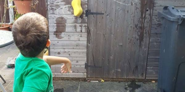 Throwing sponge at target
